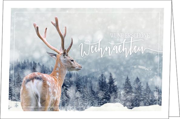 Weihnachtskarten, Reh im Schnee, A5 quer, mit Couvert ...