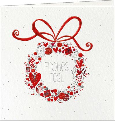 weihnachtskarten weihnachtskranz frohes fest 150 x 150. Black Bedroom Furniture Sets. Home Design Ideas