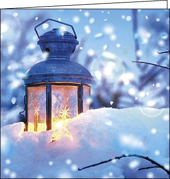 weihnachtskarten laterne im schnee 150 x 150 mit. Black Bedroom Furniture Sets. Home Design Ideas