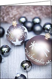 weihnachtskarten edle weihnachtskugeln mit text a5 quer. Black Bedroom Furniture Sets. Home Design Ideas